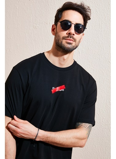 Buratti Buratti Oversize Baskılı Bisiklet Yaka % 100 Pamuk T Shirt Erkek T Shirt 5721019 Siyah